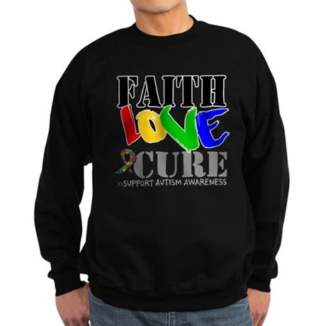 Faith Love Cure Autism Sweatshirt (dark)
