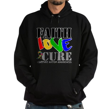 Faith Love Cure Autism Hoodie (dark)