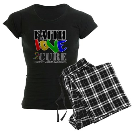 Faith Love Cure Autism Women's Dark Pajamas