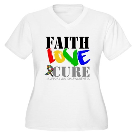 Faith Love Cure Autism Women's Plus Size V-Neck T-