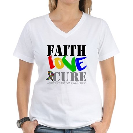 Faith Love Cure Autism Women's V-Neck T-Shirt