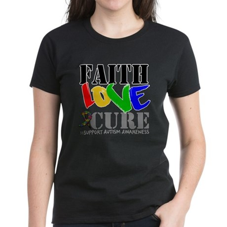 Faith Love Cure Autism Women's Dark T-Shirt