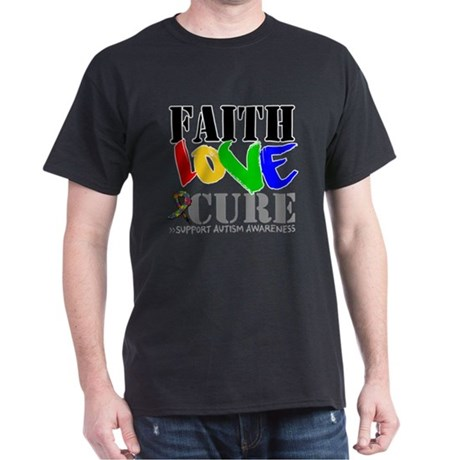 Faith Love Cure Autism Dark T-Shirt
