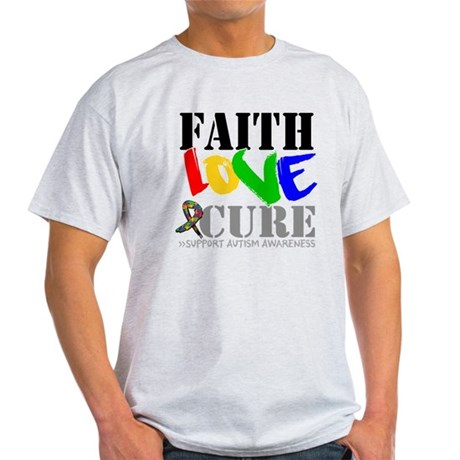 Faith Love Cure Autism Light T-Shirt