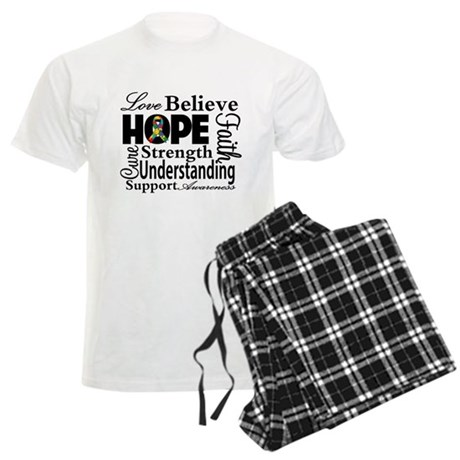 Love Believe Hope Autism Men's Light Pajamas