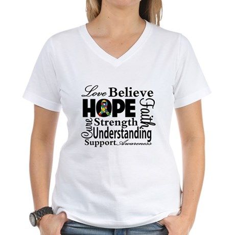 Love Believe Hope Autism Women's V-Neck T-Shirt