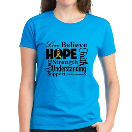 Love Believe Hope Autism Women's Dark T-Shirt