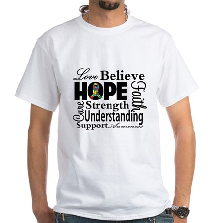 Love Believe Hope Autism White T-Shirt