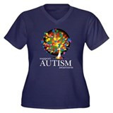Autism Tree Women's Plus Size V-Neck Dark T-Shirt