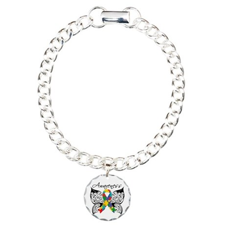 Awareness Butterfly Autism Charm Bracelet, One Cha