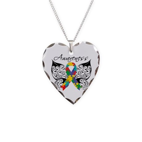 Awareness Butterfly Autism Necklace Heart Charm
