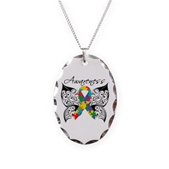 Awareness Butterfly Autism Necklace Oval Charm