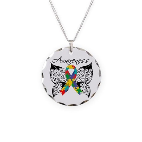 Awareness Butterfly Autism Necklace Circle Charm