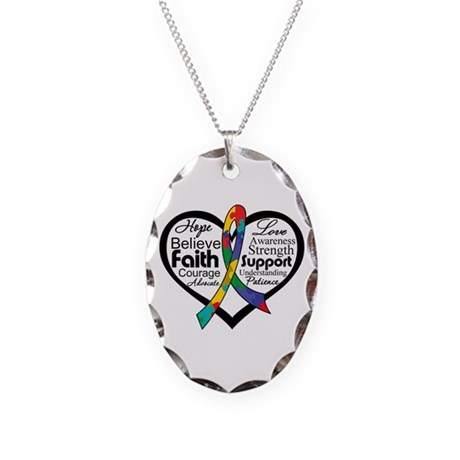 Heart Ribbon - Autism Necklace Oval Charm