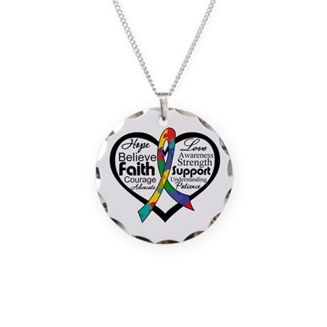 Heart Ribbon - Autism Necklace Circle Charm
