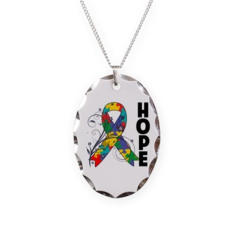 Hope Floral Ribbon Autism Necklace Oval Charm