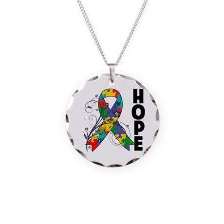 Hope Floral Ribbon Autism Necklace Circle Charm