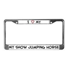 I Love show jumping Horse License Plate Frame