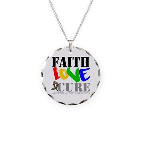 Faith Love Cure Autism Necklace Circle Charm