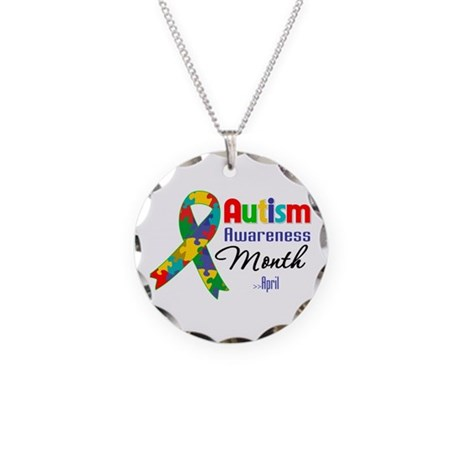 Autism Awareness Month Necklace Circle Charm