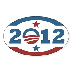 Obama 2012 Stars and Stripes Sticker (Oval)