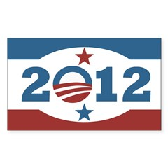 Obama 2012 Stars and Stripes Sticker (Rectangle)