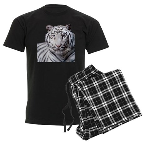 White Bengal Tiger Men's Dark Pajamas