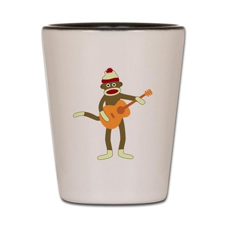 Sock Monkey Acoustic Guitar Shot Glass