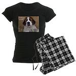 St Bernard Puppy Cookie Women's Dark Pajamas