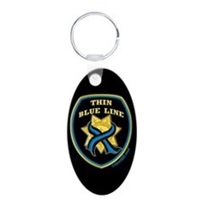 Thin Blue Line Ribbon Shield Keychains