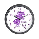 Purple Horses Rock Wall Clock