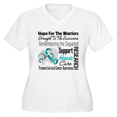 Tribute Cervical Cancer Women's Plus Size V-Neck T