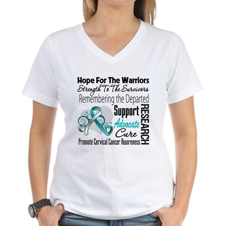 Tribute Cervical Cancer Women's V-Neck T-Shirt