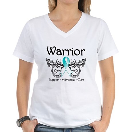 Warrior Cervical Cancer Women's V-Neck T-Shirt