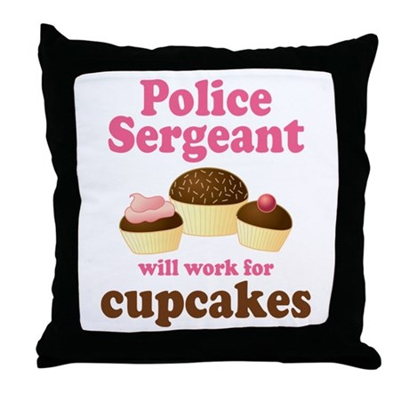 Funny Police Sergeant Throw Pillow