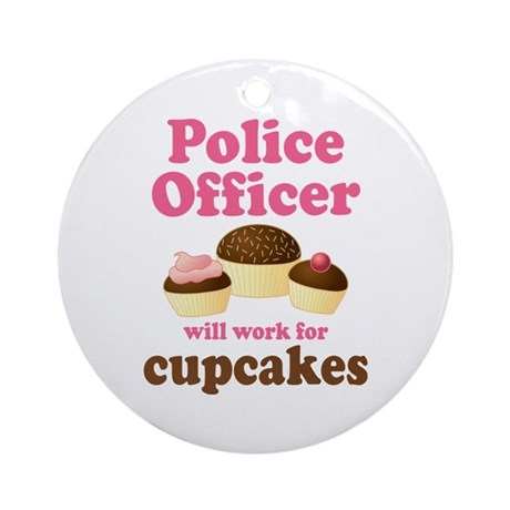 Funny Police Officer Ornament (Round)