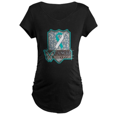Cervical Cancer Survivor Maternity Dark T-Shirt