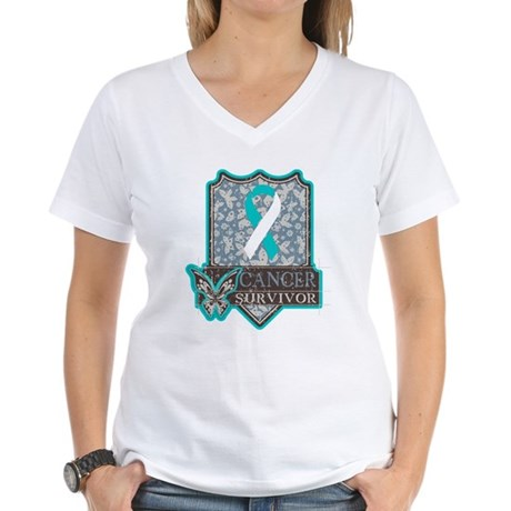 Cervical Cancer Survivor Women's V-Neck T-Shirt