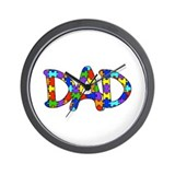 Dad Autism Awareness Wall Clock