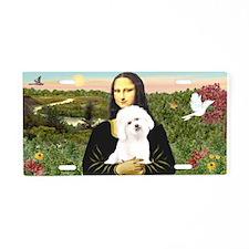 Mona Lisa / Bichon Frise Aluminum License Plate
