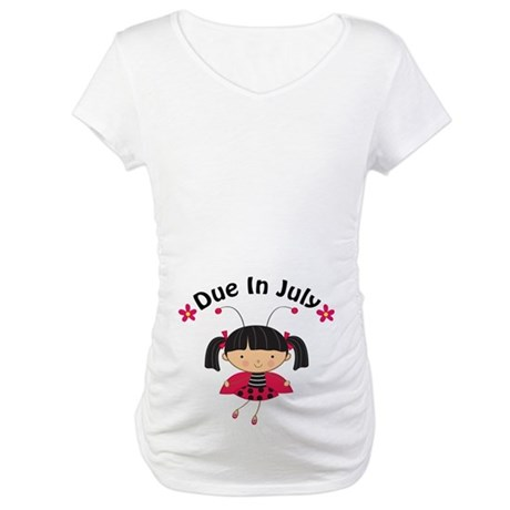 July Ladybug Due Date Maternity T-Shirt