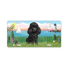 Lighthouse-Black Poodle Aluminum License Plate