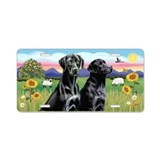SummerField--Two Black Labs Aluminum License Plate
