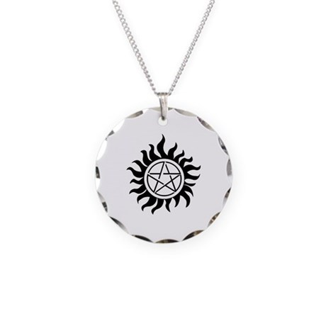 White Pentagram Necklace Circle Charm