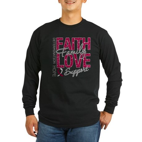 Head Neck Cancer Faith Long Sleeve Dark T-Shirt