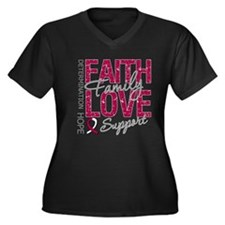 Head Neck Cancer Faith Women's Plus Size V-Neck Da