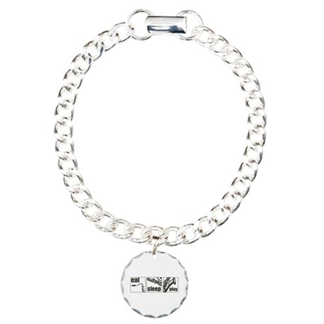 Eat Sleep Play Sax Charm Bracelet, One Charm