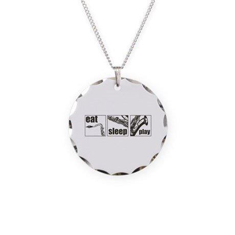 Eat Sleep Play Sax Necklace Circle Charm