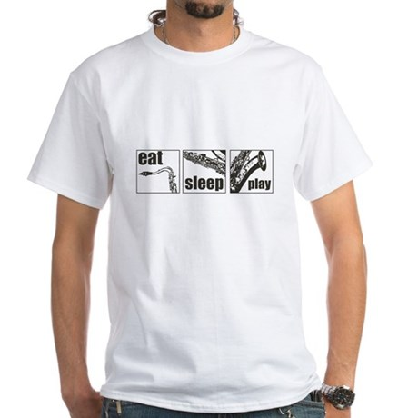 Eat Sleep Play Sax White T-Shirt