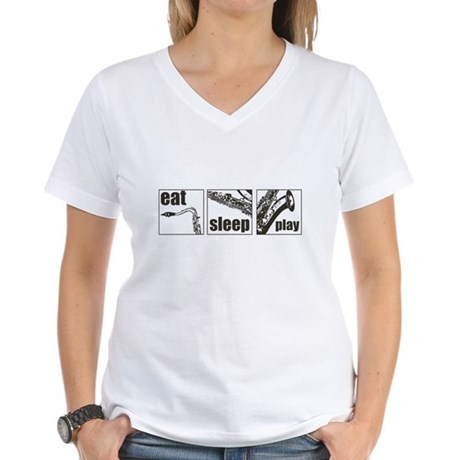 Eat Sleep Play Sax Women's V-Neck T-Shirt